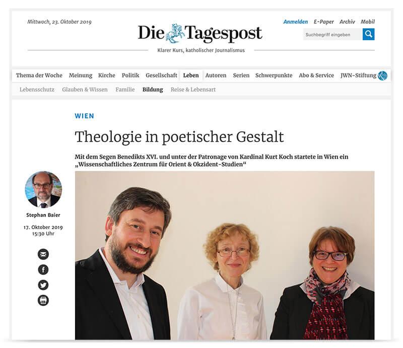 Artikel der Die Tagespost Theologie in poetischer Gestalt